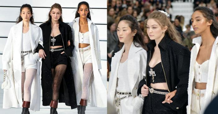Gigi Hadid Hyun Ji Shin และ Mona Touggard ในโชว์ Chanel Fall/Winter 2020