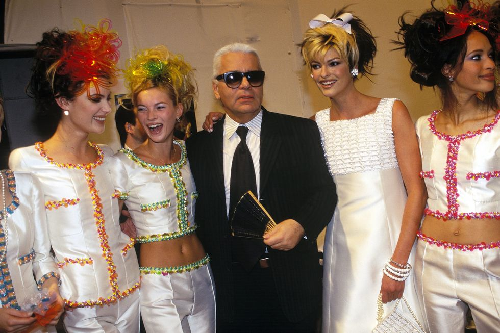 1995 Karl Lagerfeld Chanel With a young Kate Moss and Linda Evangelista backstage post-show.