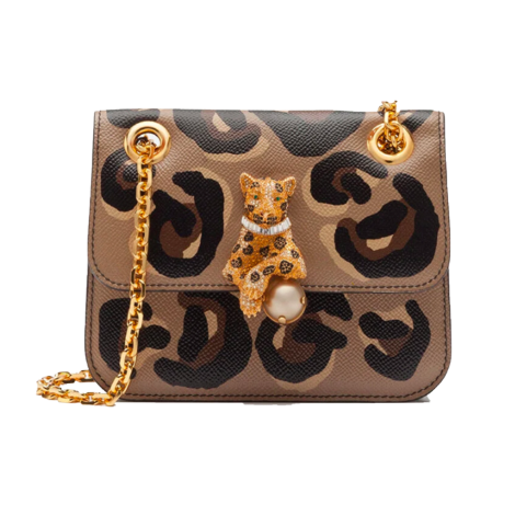 Dolce & Gabbana Small jungle bag with DG leo print